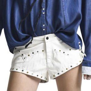 OneTeaspoon Modern Love White Leather Shorts